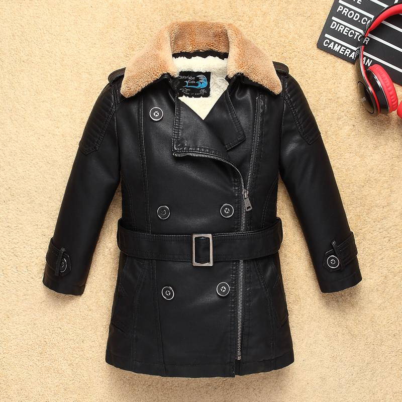 ebded949ab07 Navy Heavyweight Thick Boys Leather Jacket With Fur Collar For ...
