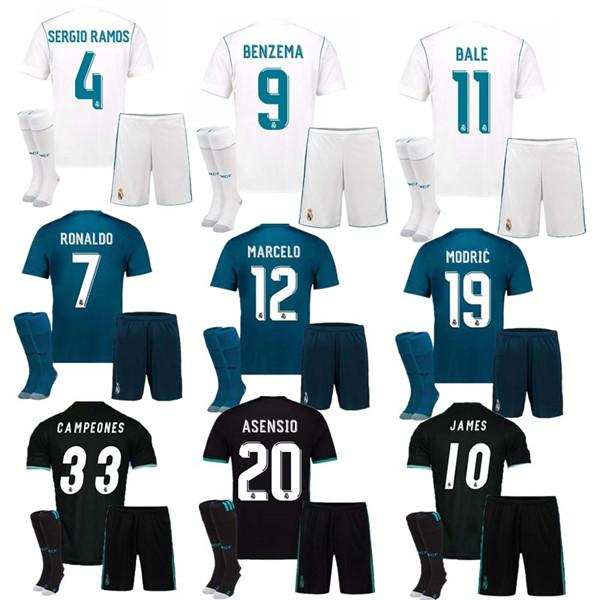 san francisco f62a2 1788d Thai quality 17 18 Real Madrid Home white Soccer Jersey kit 2017 2018 Away  black soccer shirt Ronaldo Bale Football Asensio football uniform