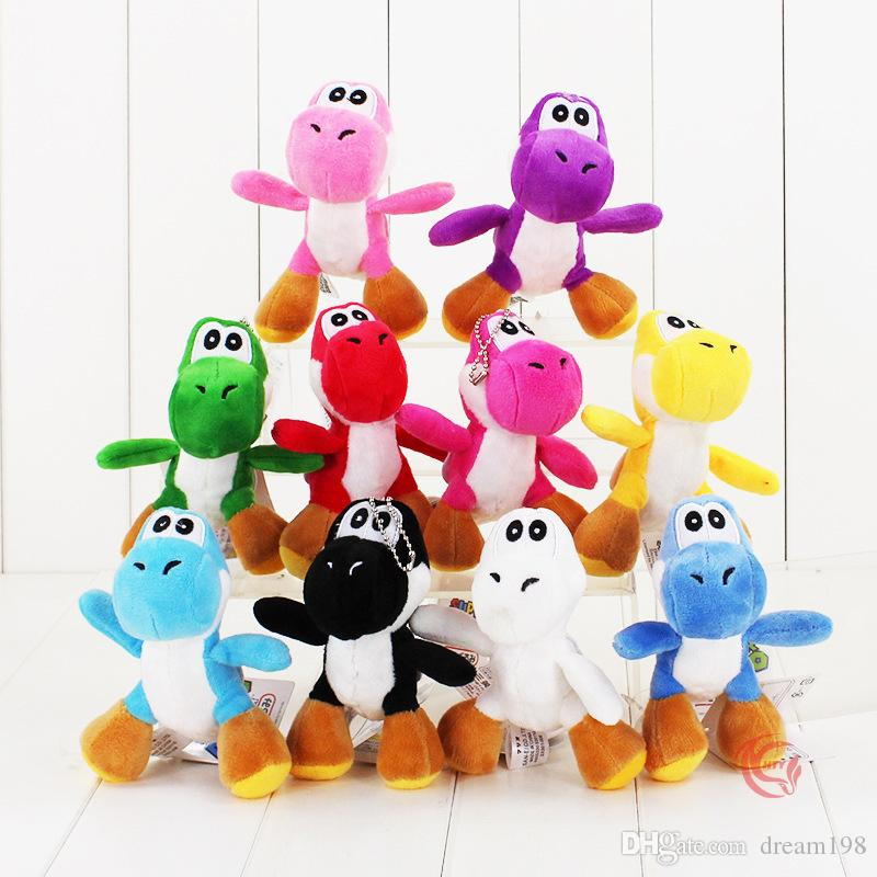 "Super Mario Bros Yoshi Dinosaur Dragon Colorful Plush Toy Pendants with Keychains Stuffed Dolls (10pcs/Lot ,4"" 10cm ) -D020"