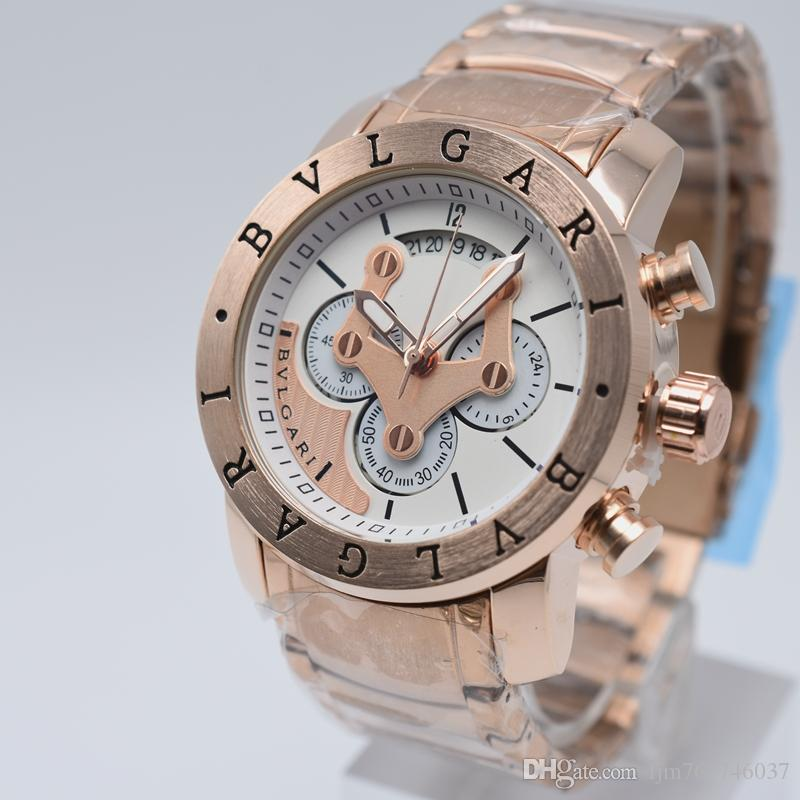 60f90e37338 Top Quality Chronograph 44mm Quartz Stainless Steel Rose Gold Brand Aaa  Luxury Mens Watches Day Date Men Dress Designer Watch Wholesale Gift Buy  Wrist ...