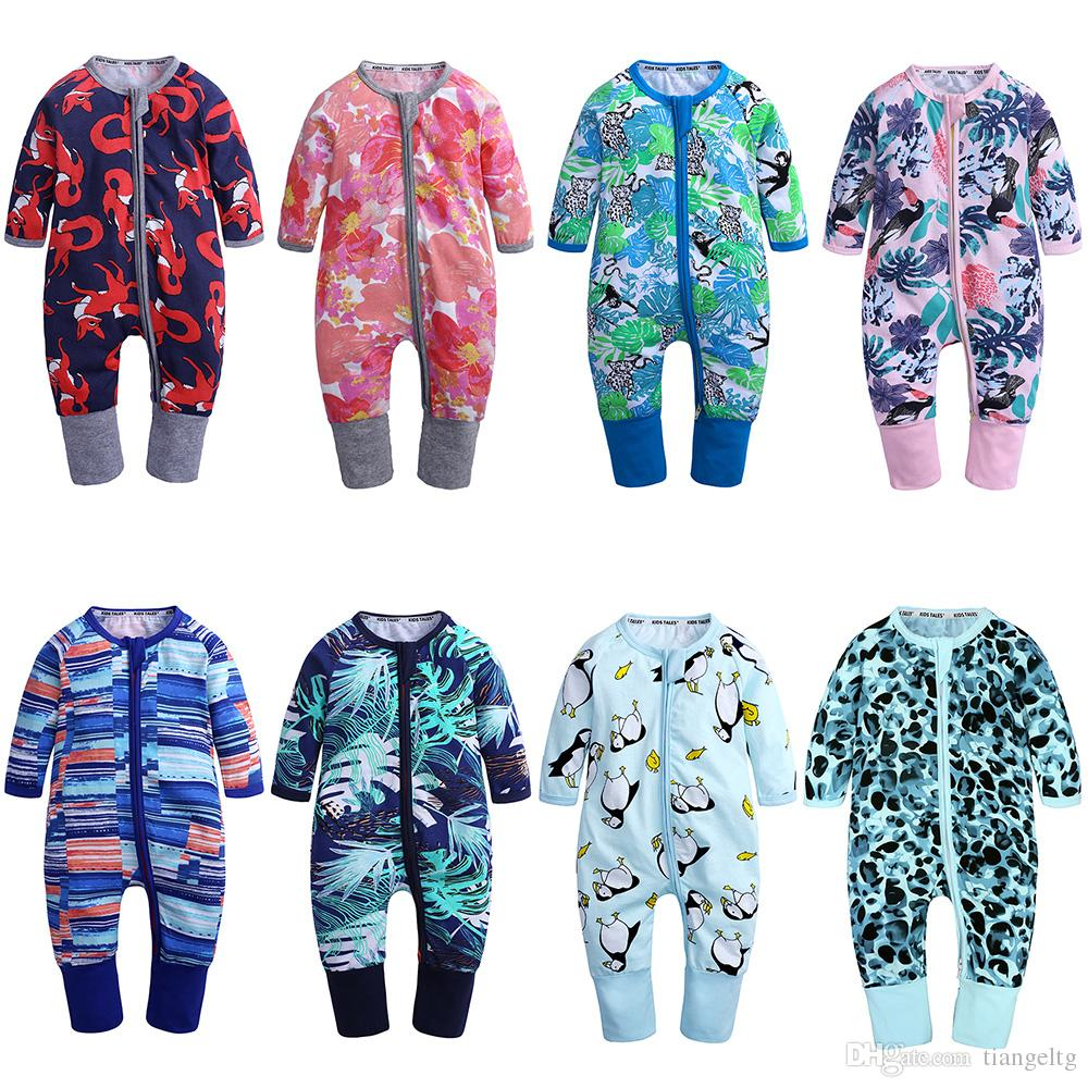 d3a195d8fba5 2019 Newborn Baby Print Rompers 75 + Designer Boys Girls Cotton Clothes  Spring Autumn Jumpsuits Daisy Coconut Leaf Dinosaur Pineapple Camouflage  From ...