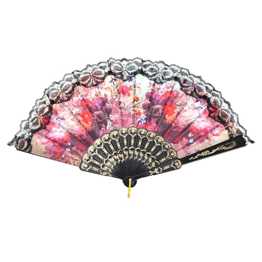 Chinese Folding Flower Lace Hand Fan Bead Fabric Decor Colored ...