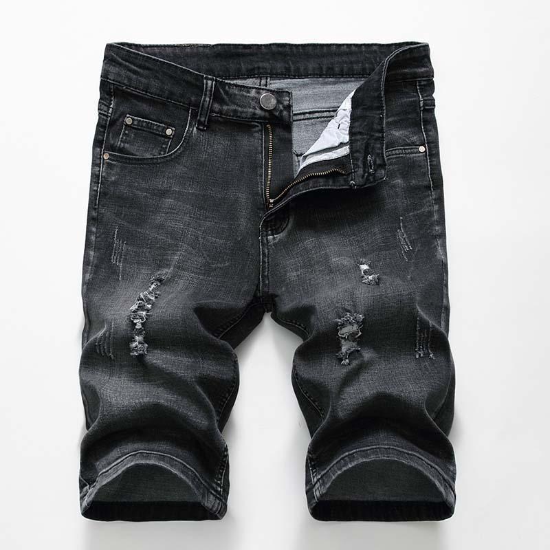 89ad55dc778 2019 2018 Mens Jeans Shorts Motorcycle Biker Jeans Rock Revival Short Pants  Skinny Slim Ripped Hole Men S Denim Shorts Men Designer Jeans From Wqhuan