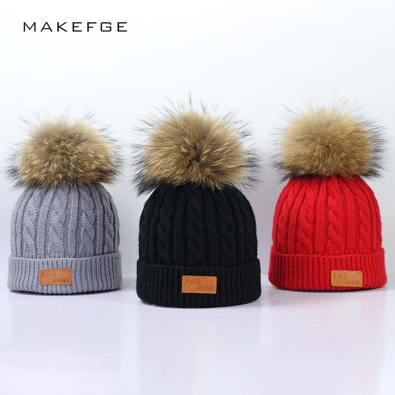 2019 2018 Warm Winter Pompom Hat For Kids Ages 2 7 Knit Beanie Winter Baby  Hat For Children Fur Pom Pom Hats Girls And Boys From Hcaihong da92c0054ea