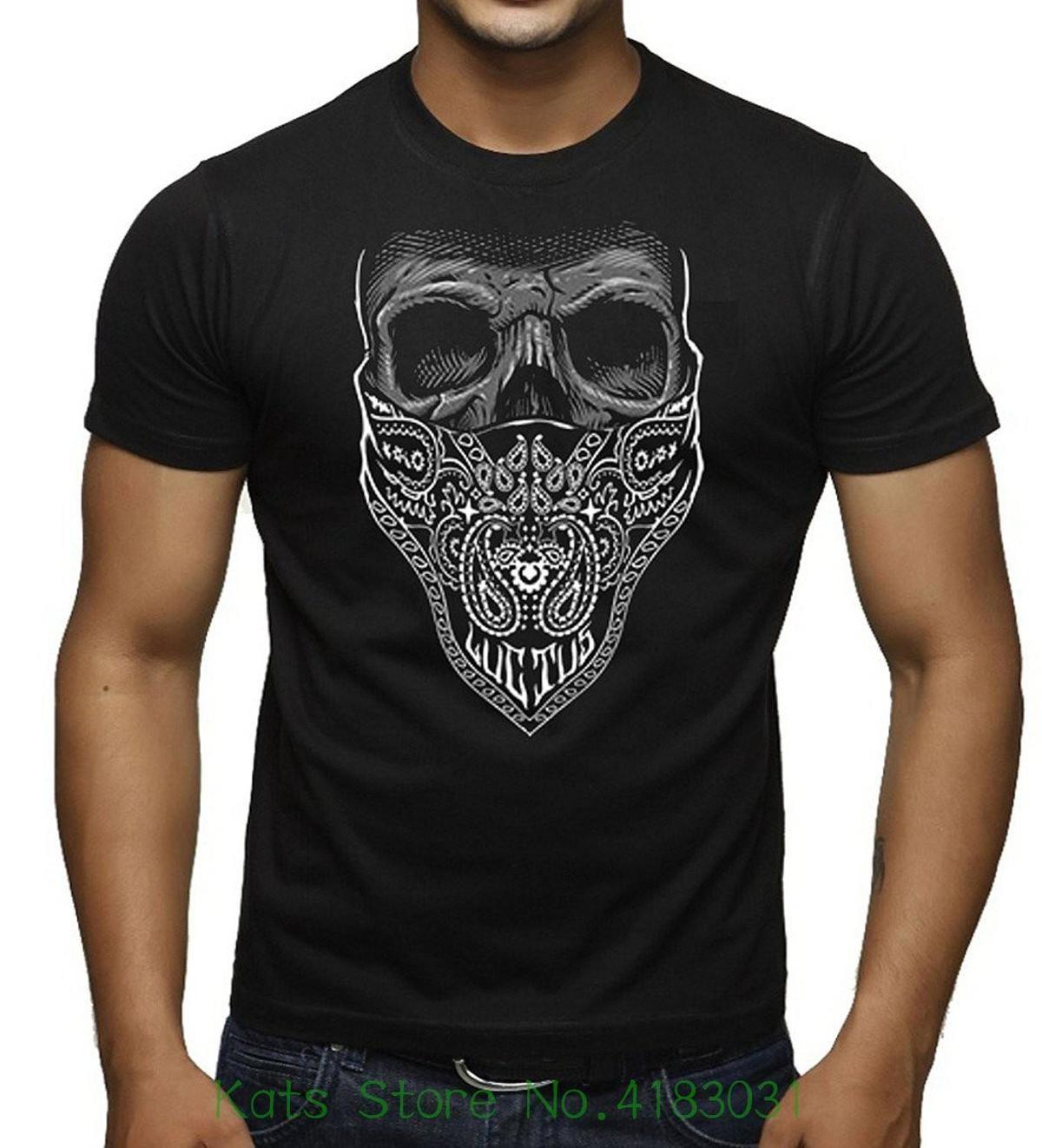 4ac1fc0de8d Men S White Bandana Skull Black T Shirt Black Men T Shirt Print Cotton  Short Sleeve Tee Shirt Site Online Buy T Shirt From Lijian047