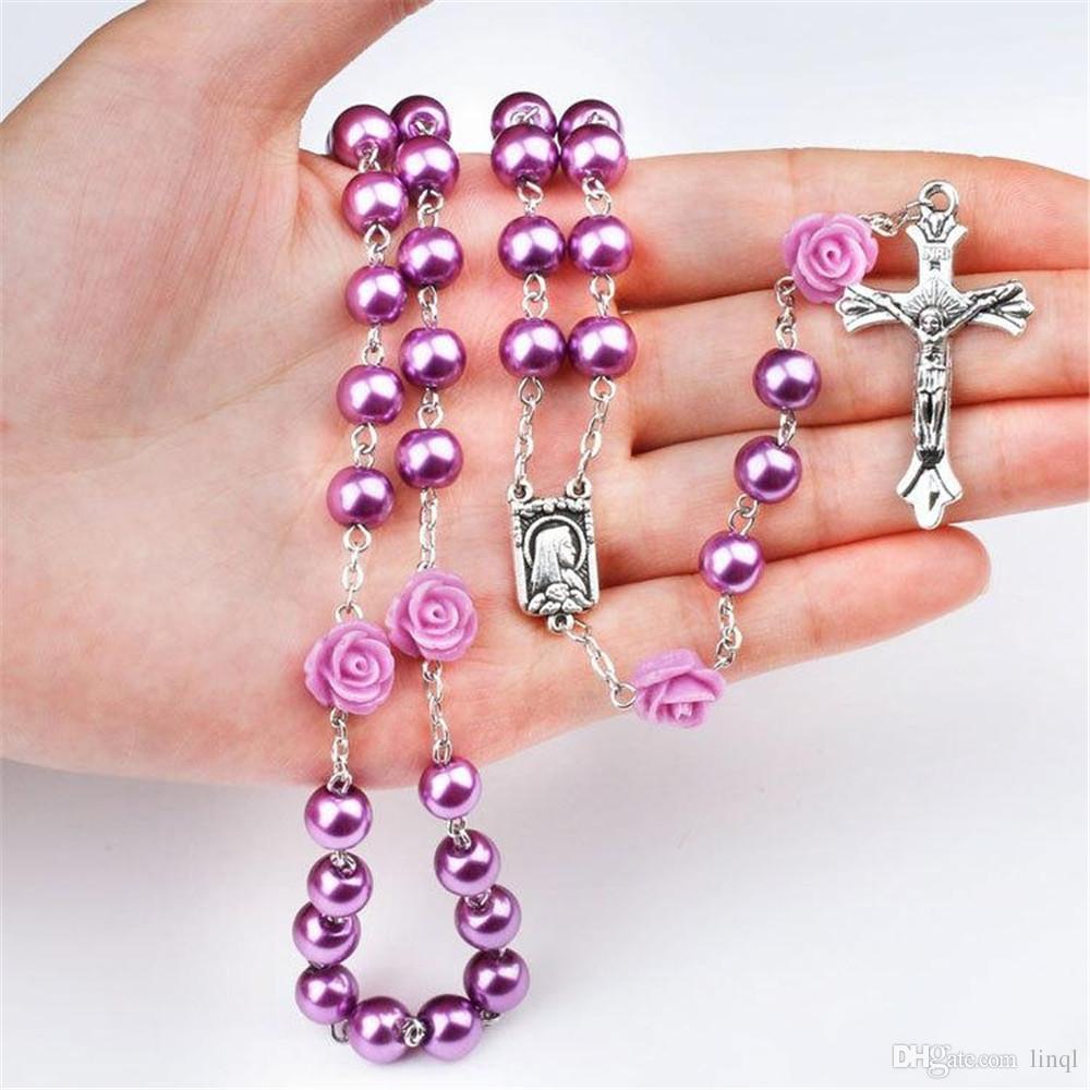 Purple black pink Rosary Beads Catholic Rosary Necklace For Girls Women Glass Father Bead Crucifix Pendant Rose halloween KKA1584