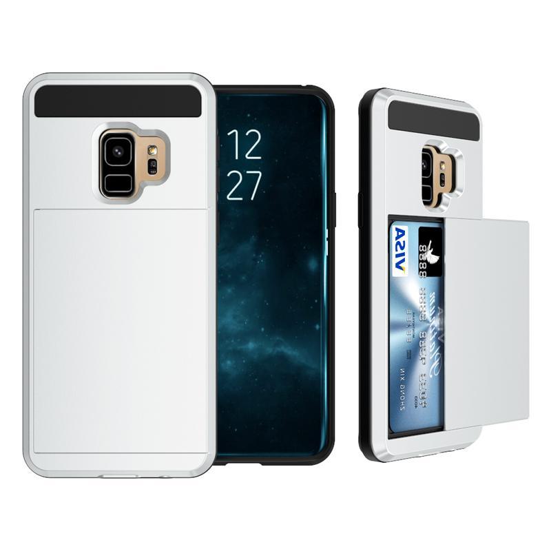 Hybrid Armor TPU PC Wallet Slide Card Slot Case For iPhone 2019 XR XS MAX X 8 7 6 Samsung S8 S9 Plus s10 5G S10E Note 9 10 Pro A7 A9 2018