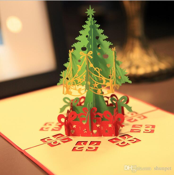 3D Merry Christmas Tree Greeting Cards Postcards Thanksgiving ...