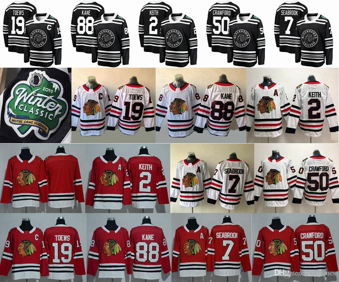 2019 2019 Winter Classic Chicago Blackhawks 19 Jonathan Toews 88 Patrick  Kane 2 Duncan Keith 7 Brent Seabrook 50 Corey Crawford Hockey Jerseys From  Tryones 59169a047
