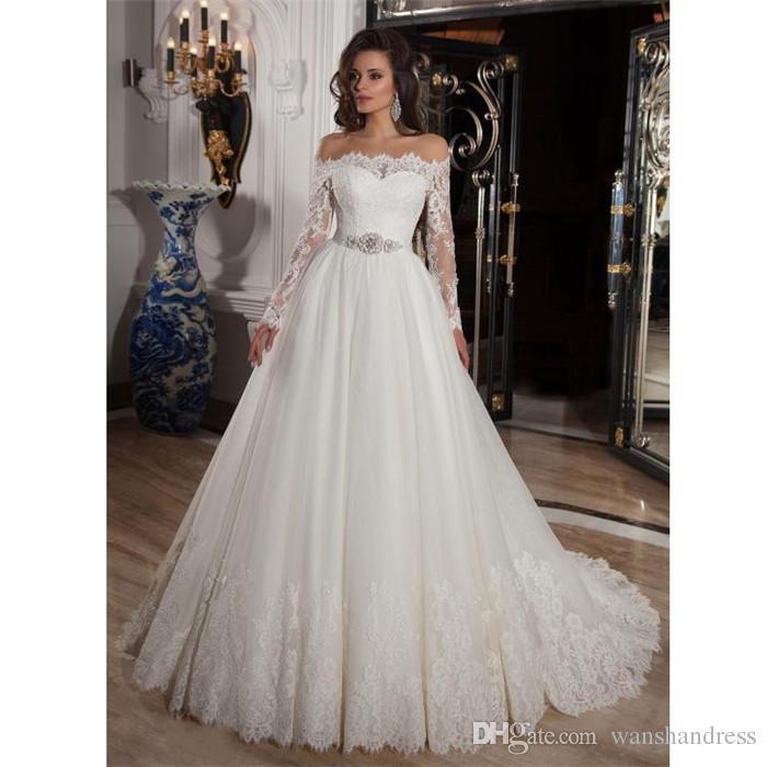 Discount White Lace A Line Wedding Dresses 2018 Romantic Buttons ...