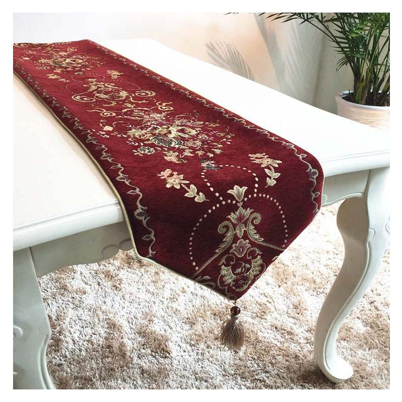 chinese style table runners for wedding floral embroidered wine red
