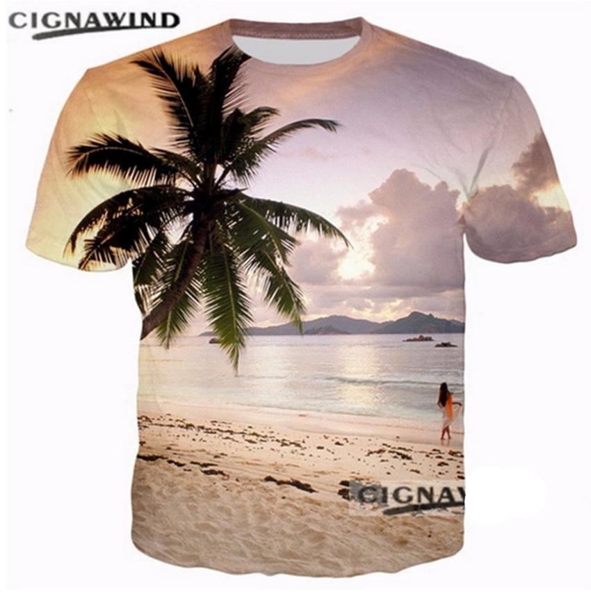 9310f409b New Summer T Shirt Men / Women Sunset Beach Hawaiian Coconut Tree 3D  Printed Funny T Shirt Harajuku Tshirt Streetwear Tops White T Shirt Design T  Shirt ...