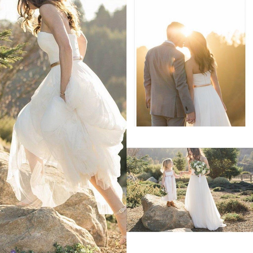 2018 White Wedding Dresses Strapless Sweep Train Sleeveless Chiffon Elegant  White Garden Beach Bridal Gowns Hot Sale Customized Wedding Dress Lace  Wedding ... d217fa383daf