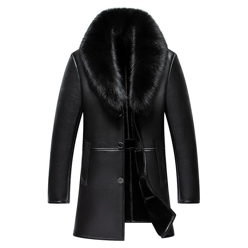 b2c1dbc872560 2019 Hot 2017 Winter New Formal Leather Jacket Male Fur One Turn Down Collar  Natural Sheep Skin Jackets Men Slim Trend Warm Coats From Lvyou09