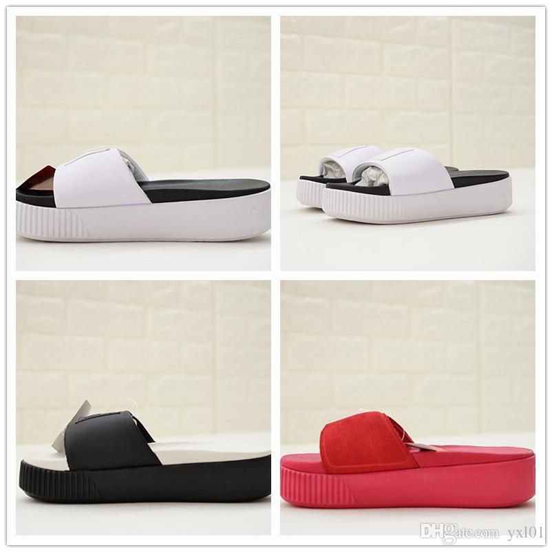 79a010be6f3 New 2018 Rihanna Fenty Modern Time Platform Slide Bold SD Fashion Slippers  Luxury Designer Shoes Top Women Black White Red Slipper EUR 35 39 Dress  Shoes ...