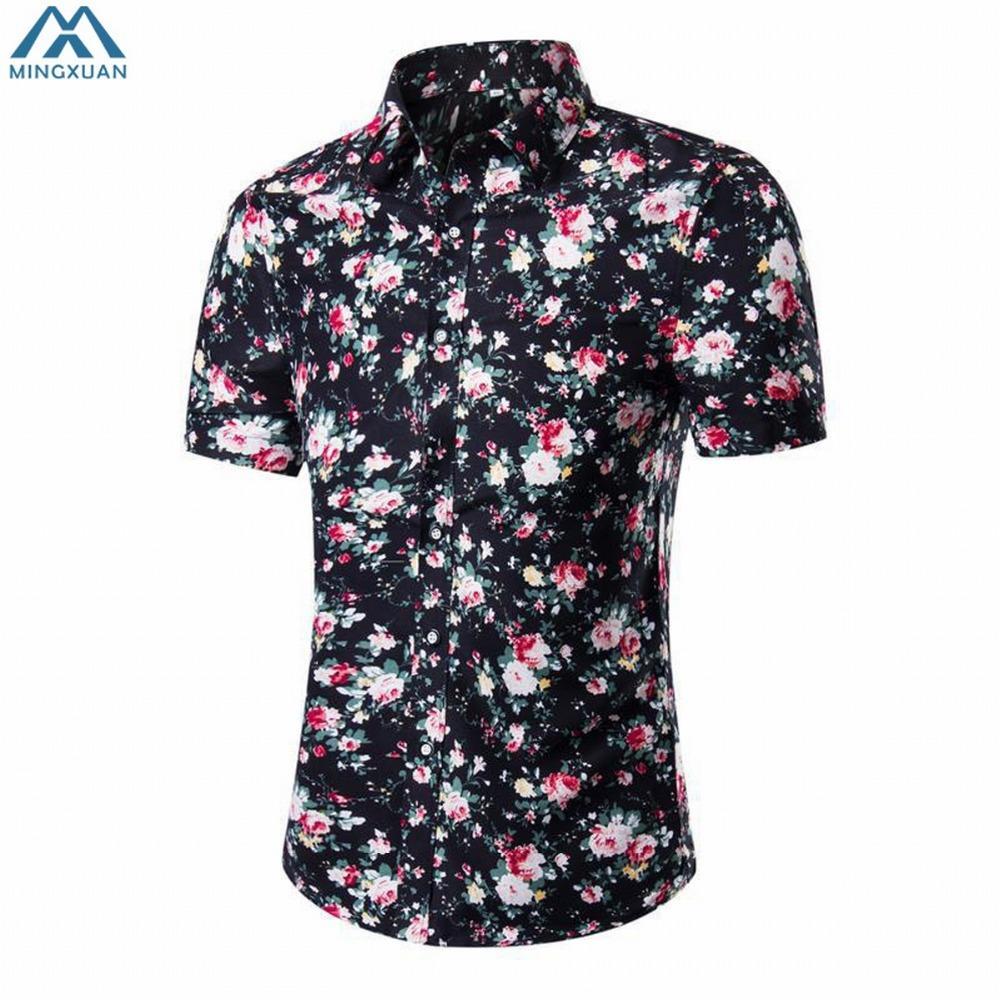 2019 Men Shirts Brand Shirts Men Casual Cotton Print Fabric Male