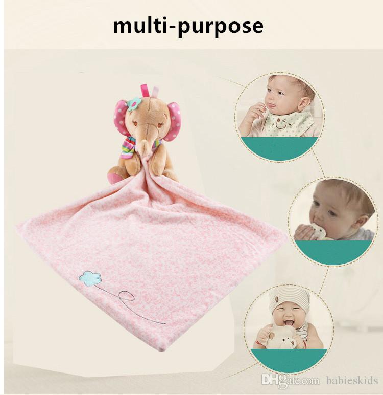Sonajeros de bebé Juguetes para bebés Consolador Lindo Animal de la historieta Suave Felpa Sonajero confort toallas muñecas Cuidado de bebé multifuncional