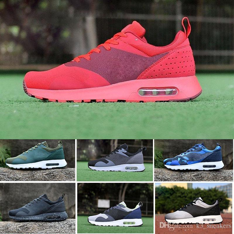 reputable site f9882 2bee1 Acheter Nike Air Max Tavas 87 Running Shoes 87 Tavas 90 Camouflage Hommes  Thea Chaussures Décontractées 100% Tout Noir Thea Respirant Chaussure 2017  Taille ...