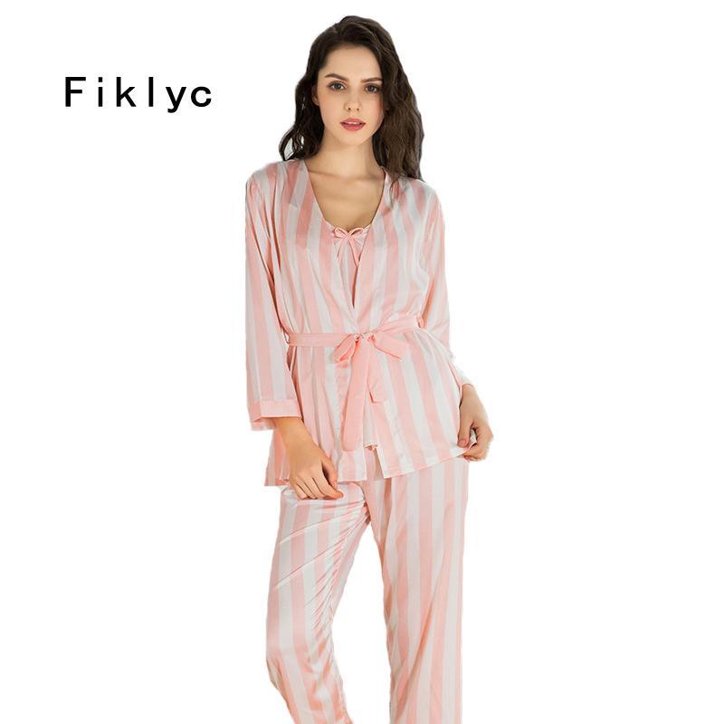 0d20641c93 Fiklyc Brand Striped Womens Pajamas Sets Three-pieces Bathrobe + Tops +  Long Pants Pijamas Sets Fashion Luxury Female Nighties Pajama Sets Cheap Pajama  Sets ...