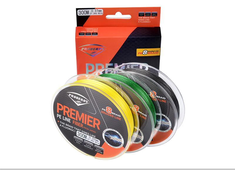 Yellow Black Green 300m 8 Strands Braid Lines Super Strong Ocean Fly fishing wire 300m PE Braided Fiber From Japan 10LB~60LB Message Colors