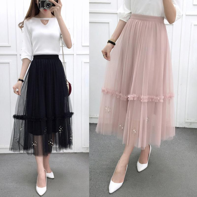 9542ca0be1 2019 Summer Korean Style Fashion Lace Mesh Skirts Womens Patchwork ...