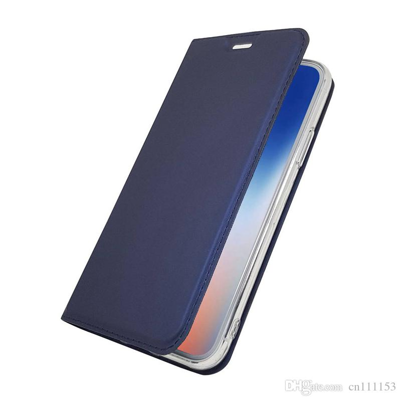 Wholesale Slim PU Leather Case For iPhone XS MAS XR XS X 8 Plus 7 Plus 6 6S Plus 5 Card Holder with Stand Flip Magnetic Solid Colored