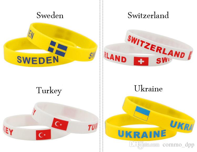 2018 Russia World Cup sports bracelets Many countries national flags silicone Wristband For Football soccer Fans Souvenir Jewelry Gift