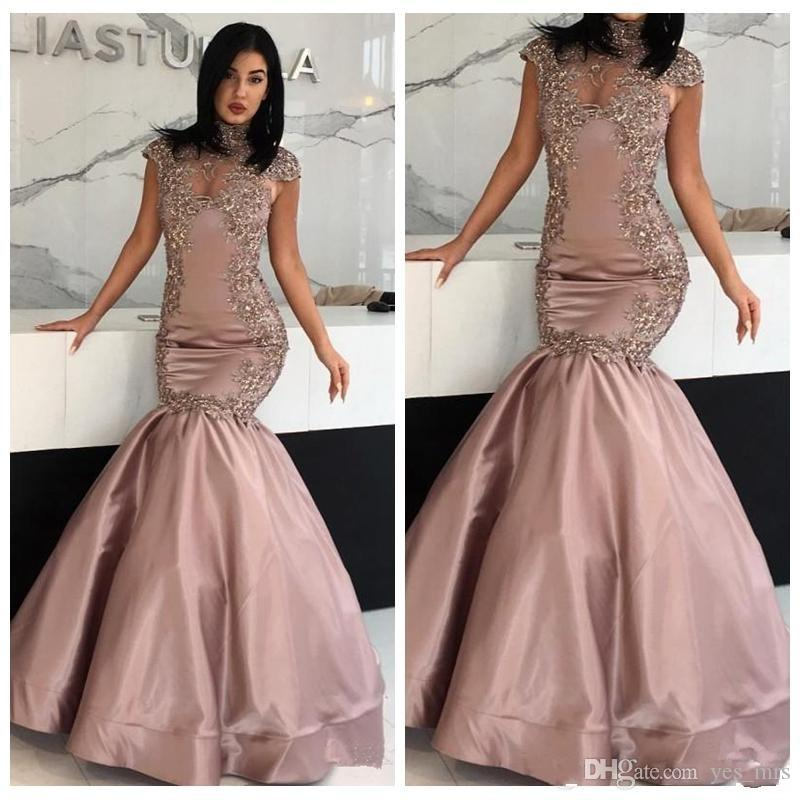 974896404dd 2018 Ziad Nakad Mermaid Evening Dresses High Neck Crystal Beaded Cap Sleeves  Keyhole Sweep Train Satin Sexy Lace Prom Party Pageant Gowns Cheap Long  Evening ...