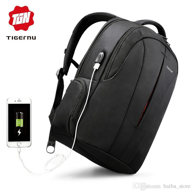 11a877855d Tigernu Nylon Black Backpack Waterproof Men s Back Pack 15.6 Inch ...