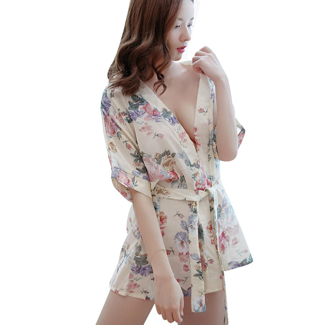 2019 Sexy Floral Robe Bathrobe Women Silk Kimono Bathrobe Transparent  Ladies Satin Robes Longue Sleep Nightwear Femme Janeses Style From  Morph1ne a2d934178