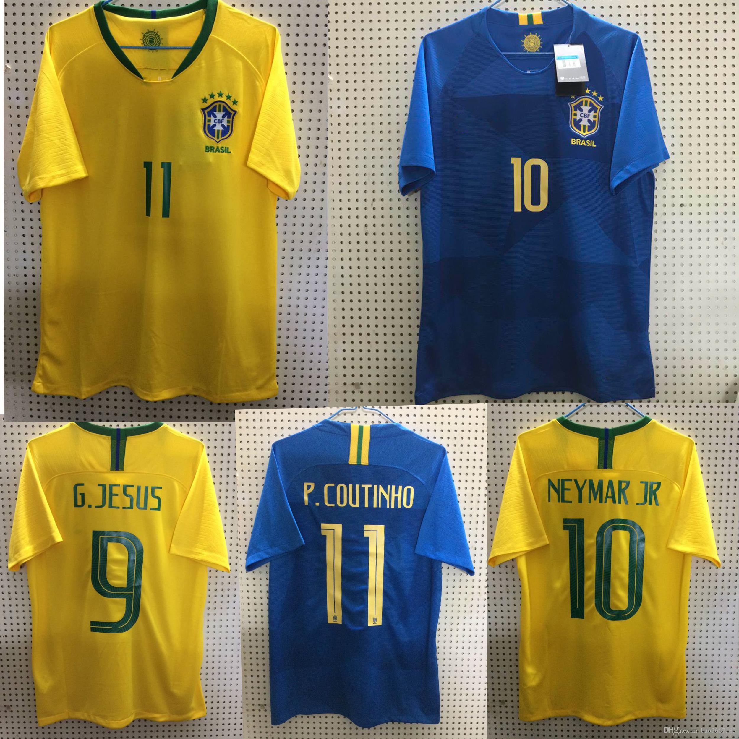 SIZE S-3XL 2018 World Cup Brazil Home Away Soccer Jerseys 2018 World Cup  Football Shirts NEYMAR JR COUTINHO G.JESUS Soccer Jerseys 2017 2018 Brazil  Soccer ...