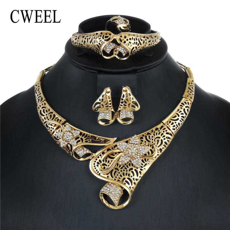 CWEEL Nigerian Bead Jewelry Sets For Women Wedding Flower African Beads Jewelry Set Necklace Earrings Cheap Jewellery