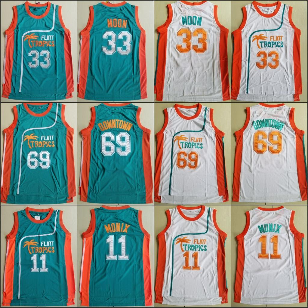 2019 2018 New Men S Semi Pro Movie Flint Tropics 33 Jackie Moon Jersey 7  Coffee Black 11 ED Monix Green White Stitched Basketball Jerseys From  Hw022208 4af18ba49