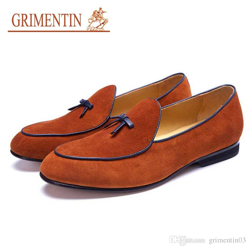 1c4da54f1e306 GRIMENTIN Brand summer customized handmade shoes hot sale Italian fashion  mens loafers Suede leather large size formal mens dress shoes
