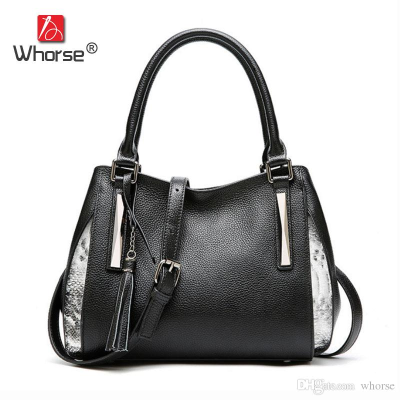 Top Quality Brand Luxury Tassel Fashion Genuine Leather Shoulder Bags Women  Designer Handbags High Quality Casual Tote Bag For Woman W09550 Cheap Purses  ... a3184f652adf4