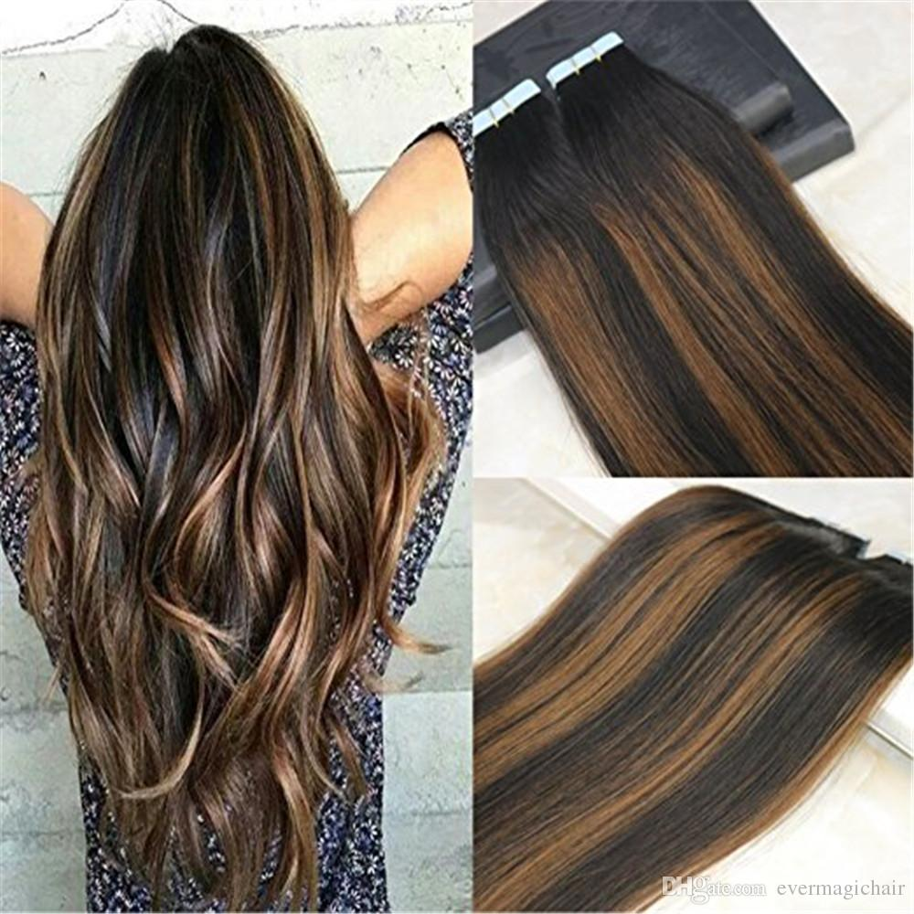 Human Hair Tape In Extensions Ombre Glue In Remy Hair Extensions Balayage  Color 1B Dark Roots Fading To 4 Chocolates Brown 100g Best Weave Hair  Best
