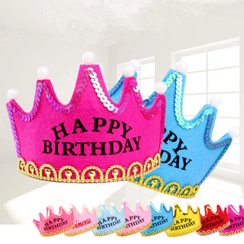 Kids Adult Children Happy Birthday Party Hats LED Flashing Light Crown King Princess Prince Caps Headband Wholesale