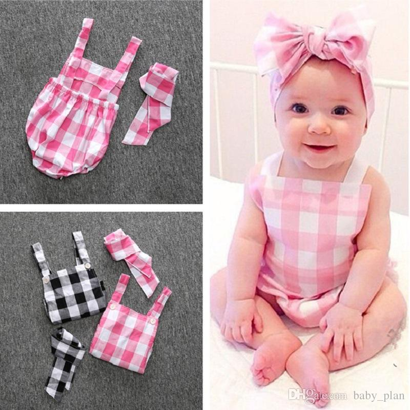 c17f09436ef 2019 2018 Baby Girl Plaid Romper One Pieces Jumpsuits Newborn Onesies Summer  Halter Bow Infant Bodysuit Kids Clothes Bebes Roupas Menina From Baby plan