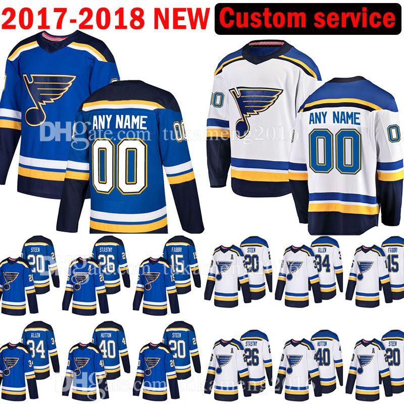 super popular 56c18 55c1b St. Louis Blues Custom 2017-2018 New 20 Alexander Steen 15 Robby Fabbri  Jersey 26 Paul Stastny 40 Carter Hutton 34 Jake Allen Jerseys