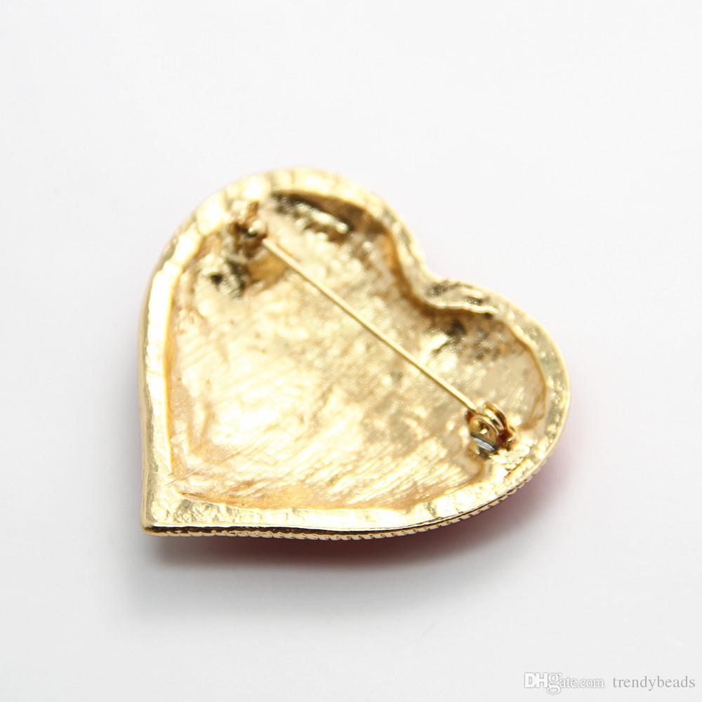 Vintage ange coeur broche épingle bijoux en cristal d'or rouge Noël broches cadeau de fête des mères