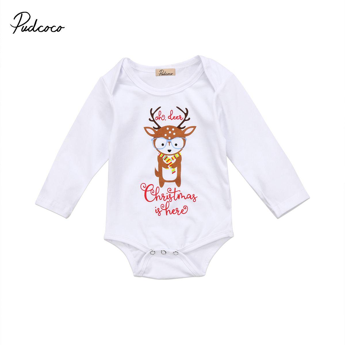 3e308b2a4cb4 2019 Xmas Baby Boy Girl Clothes Cartoon Christmas Deer Pattern ...