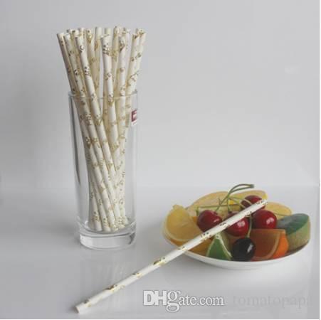 Gold Theme Striped Paper Straws Birthday Wedding Decorative Event Party Supplies Retro Disposable Drinking Straws