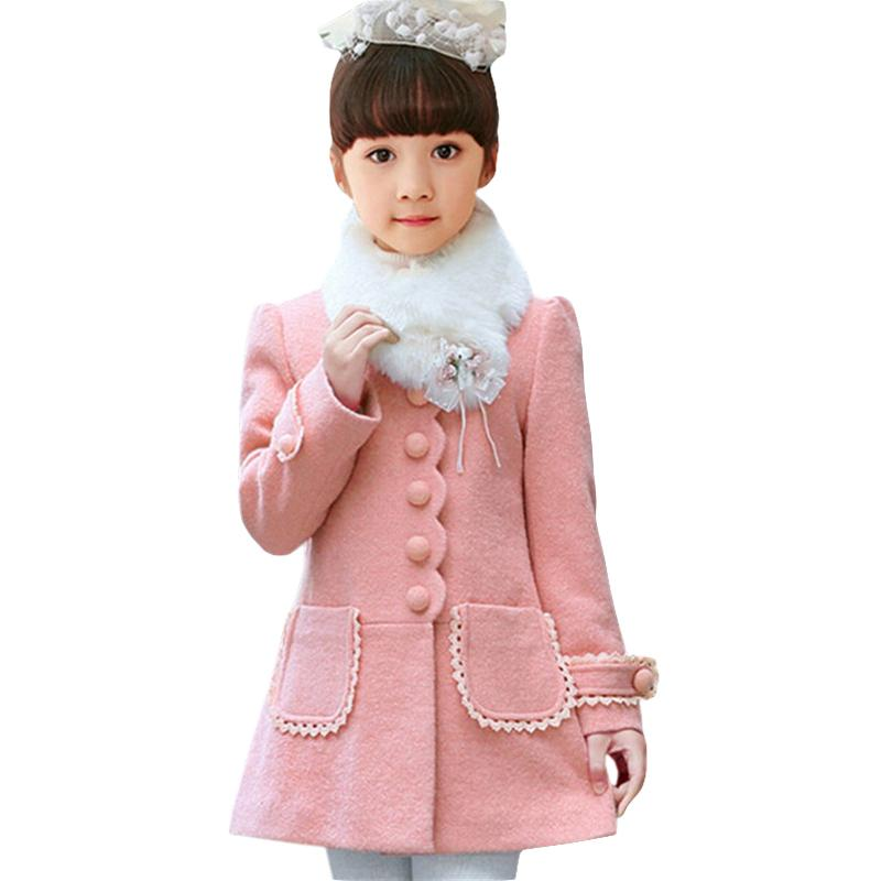 5293aec74 Baby Girls Jacket 2018 Autumn Winter Jackets For Girls Wool Coat ...