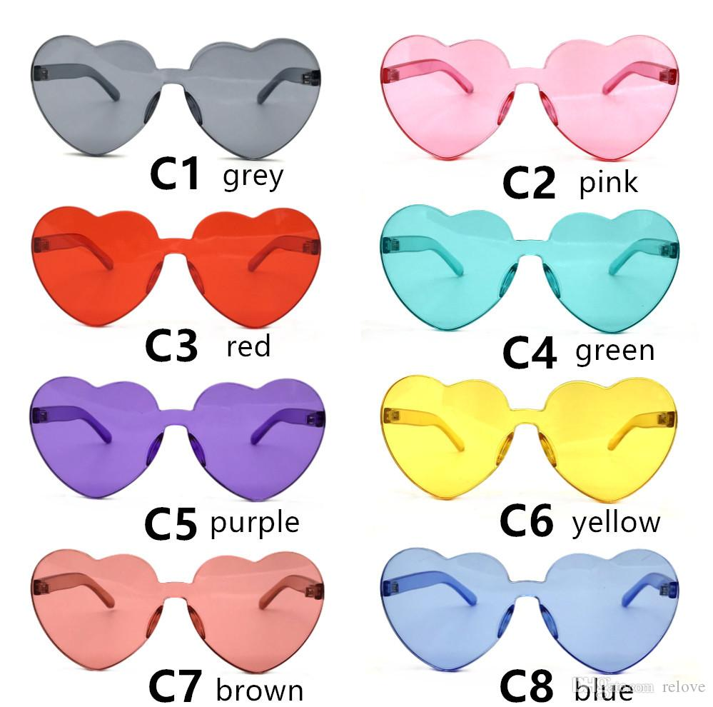 e713456c35806 Jelly Color Women Love Heart Shape Sunglasses 2018 Rimless Frame Tint Clear  Lens Colorful Sun Glasses Red Pink Yellow Shades Cat Eye Sunglasses Round  ...