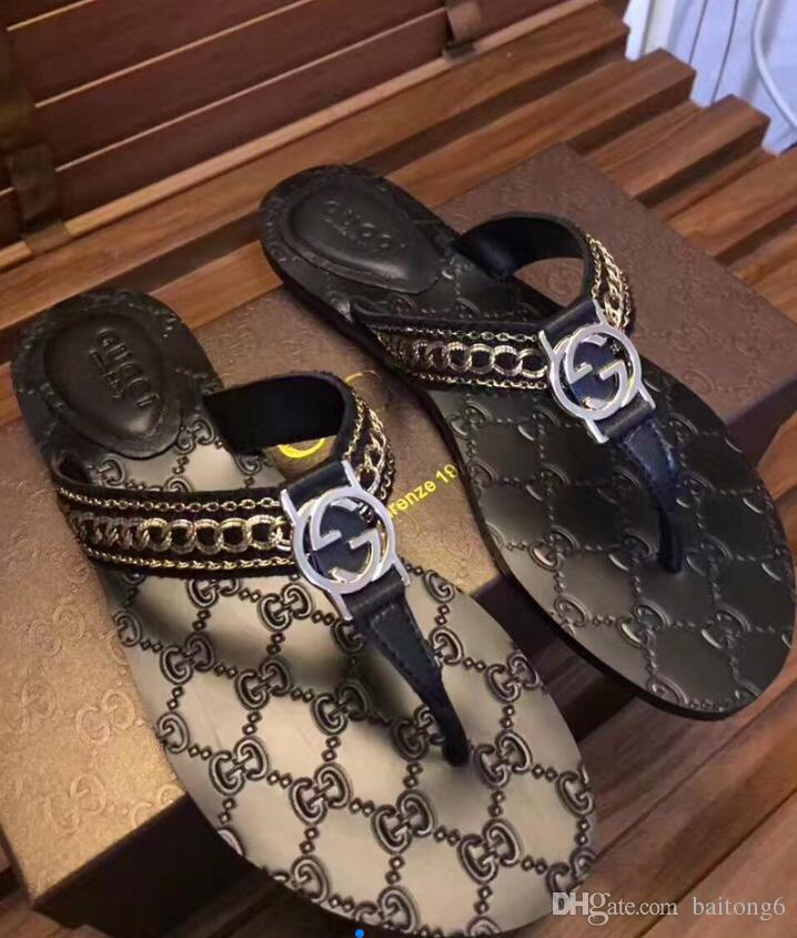 a4309f256dac60 2018 Summer Mens Designer Sandals Causal Rubber Huaraches Slippers Loafers  Flats Leather Luxury Brand Slides Designer Sandals Shoe Shops Formal Shoes  From ...