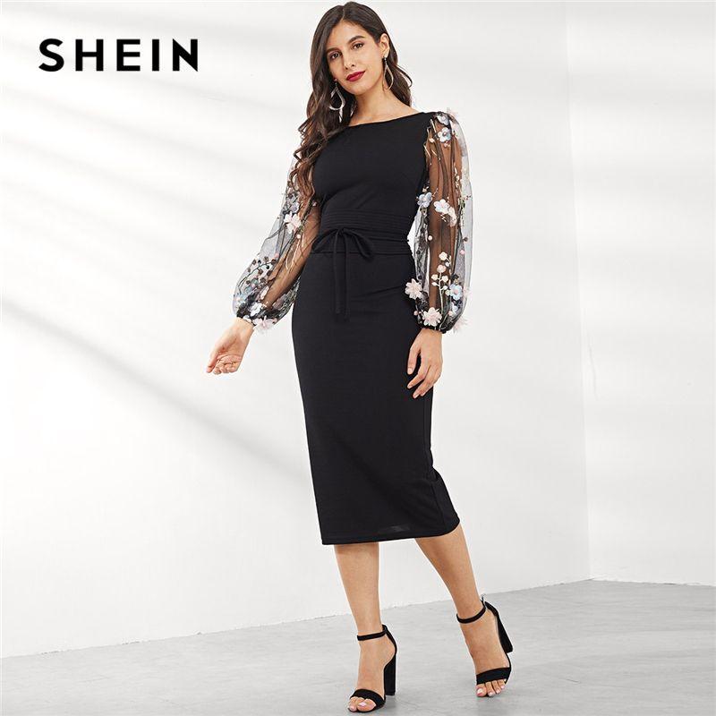 33d475763a SHEIN Black Applique Embroidered Mesh Sleeve Pencil Dress Women Autumn  Elegant Casual Boat Neck Bishop Sleeve Pencil Dresses Sundresses Womens  Dressing ...