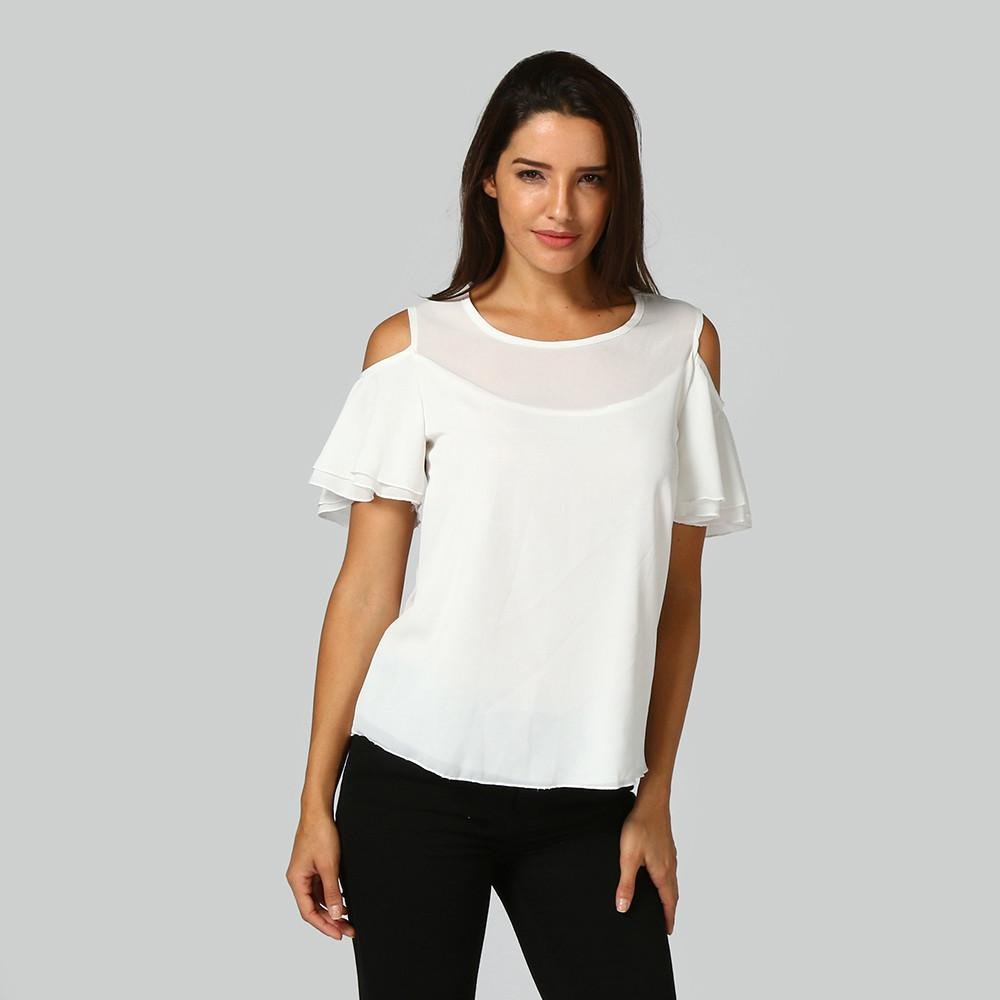 19a54bcc138c56 2019 Summer Top Women Shirt Chiffon Blouse Ruffle Blouse Cold Shoulder Tops  Ladies Tops Female Clothing Roupa Feminina  445 From Ziron