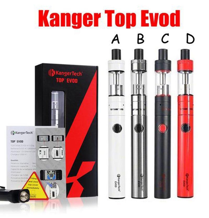 Kangertech Topevod Kit de démarrage avec 1,7 ml Kanger Top Evod atomiseur de remplissage supérieur 650mAh batterie Evod VOCC bobine stylo Vape