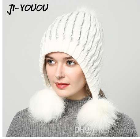 8afccdc31ee Winter Hats For Women Hat With Fur Women S Knitted Hat Beanie Pompom  Thicker Women S Cap Beanies Selling Beanie Wool For Headwear Beanies For  Men From ...