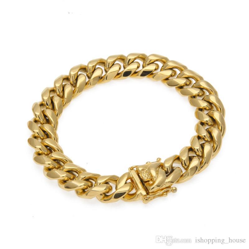 Bracelet en acier inoxydable Hommes Lien Chaînes Largeur 8 mm 10 mm 12 mm 14 mm plaqué or jaune 20.5cm acier Bracelet cubaine pour hommes Hip Hop